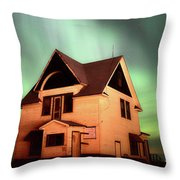 Panoramic Prairie Northern Lights And House Throw Pillow