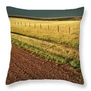 Panoramic Prairie Storm Canada At Sunset Throw Pillow