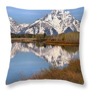 Panoramic Reflections At Oxbow Throw Pillow