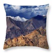 Panoramic Rocky Landscape Of Leh City Ladakh Jammu And Kashmir India Throw Pillow