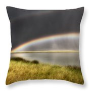 Panoramic Storm In The Marshes Throw Pillow