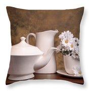 Panoramic Teapot With Daisies Throw Pillow