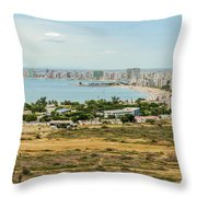 Panoramic View At The Salinas Beaches In Ecuador Throw Pillow