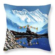Panoramic View Of Annapurna Mountain Nepal Throw Pillow