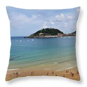 Panoramic View Of Beautiful Beach, San Sebastian, Spain  Throw Pillow