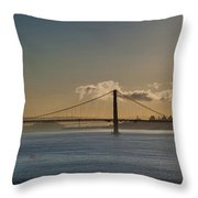Panoramic View Of Downtown San Francisco Behind The Golden Gate  Throw Pillow