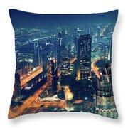 Panoramic View Of Dubai City Throw Pillow
