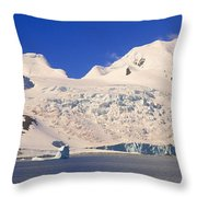Panoramic View Of Glaciers And Iceberg Throw Pillow