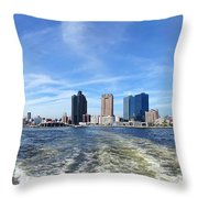 Panoramic View Of Kaohsiung City Waterfront Throw Pillow