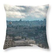 Panoramic View Of Old Jerusalem City Throw Pillow