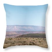 Panoramic View Of Open Desert Field In Nevada With Grand Canyon  Throw Pillow