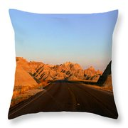 Panoramic View Of Road Going Throw Pillow