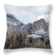 Panoramic View Of Snowed Peaks In Yosemite Park With Snow On The Throw Pillow