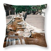 Panoramic View Of Stairs And Waterfall Throw Pillow