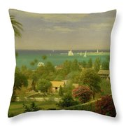 Panoramic View Of The Harbour At Nassau In The Bahamas Throw Pillow by Albert Bierstadt
