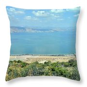 Panoramic View Of The Sea Of Galilee Throw Pillow