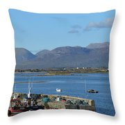 Panoramic View Roundstone Harbour Throw Pillow