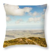 Panoramic Views From Mount Zeehan To Trial Harbour Throw Pillow