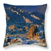 Panoramic Winter In The Alabama Hills Eastern Sierras California Throw Pillow