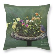 Pansies And Bluebird Throw Pillow