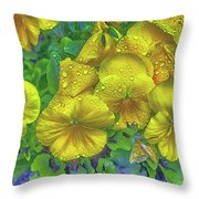 Pansies - Coloring Book Effect Throw Pillow