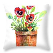 Pansies In A Clay Pot Throw Pillow
