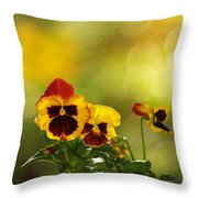 Pansies In The Autumn Glow Throw Pillow