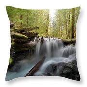 Panther Creek In Gifford Pinchot National Forest Throw Pillow