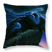 Panther On Rock Throw Pillow