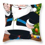 Panthers Santa Claus Throw Pillow
