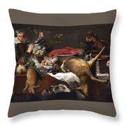 Pantry Scene With Servant By Frans Snyders Throw Pillow