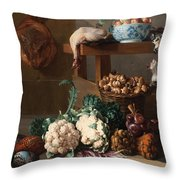 Pantry With Artichokes Cauliflowers And A Basket Of Mushrooms Throw Pillow
