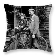 Papa With Charles On Bicycle, Fred On Porch Throw Pillow