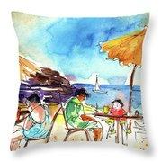 Papagayo Beach Bar In Lanzarote Throw Pillow
