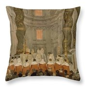 Papal Ceremony In St Peter In Rome Under The Canopy Of Bernini Throw Pillow