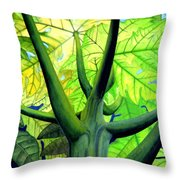 Papaya Tree Throw Pillow