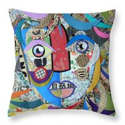 Paper Girl Windy Day Throw Pillow by Jen Hardwick