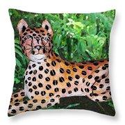Paper Mache Leopard Throw Pillow