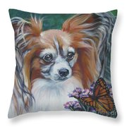 Papillon With Monarch Throw Pillow