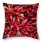 Paprika Peppers At A Market Stall. Throw Pillow