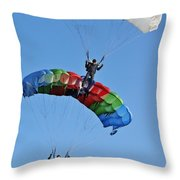 Parachutists Biplane Throw Pillow