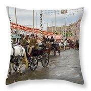 Parade Of Horse Drawn Carriages On Antonio Bienvenida Street Wit Throw Pillow