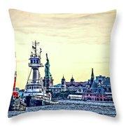 Parade Of Tugs, Hudson River, New York City Throw Pillow