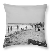 Paradise Beach In Black And White Throw Pillow