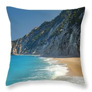 Paradise Beach With Blue Waters Throw Pillow