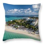 Paradise - Isla Mujeres - Playa Norte, Aerial Image Throw Pillow