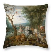 Paradise Landscape With Animals Throw Pillow