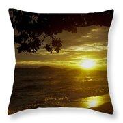 Paradise Lensflare Beach Sunset #9412 Throw Pillow