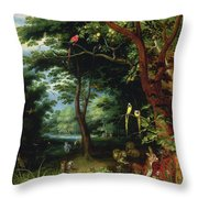 Paradise Scene With Adam And Eve Throw Pillow