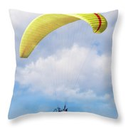 Paraglider Floating In The Clouds Throw Pillow